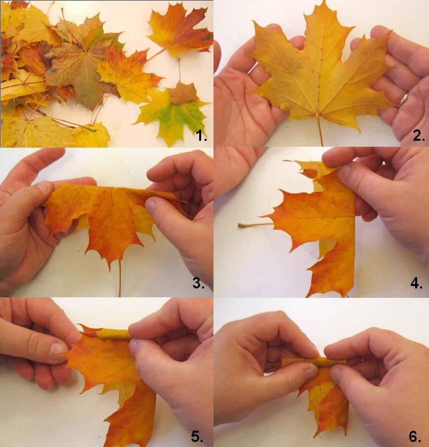 Поделка осень из листвы